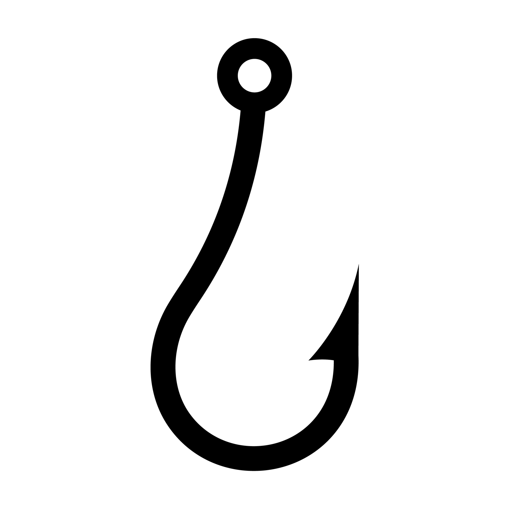 Fishing hook icon, silhouette on white background