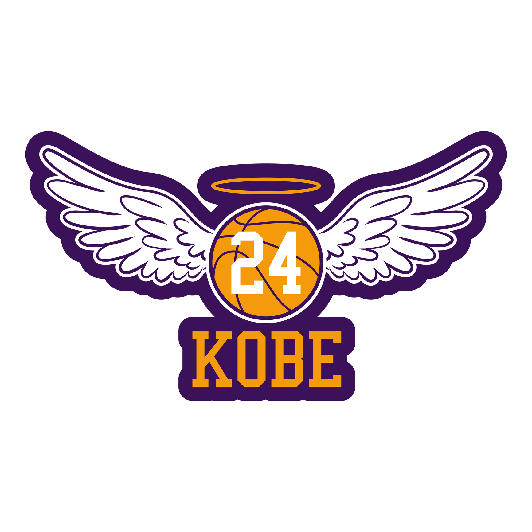 R.I.P. Kobe Bryant - Basketball with angel wings and glory.