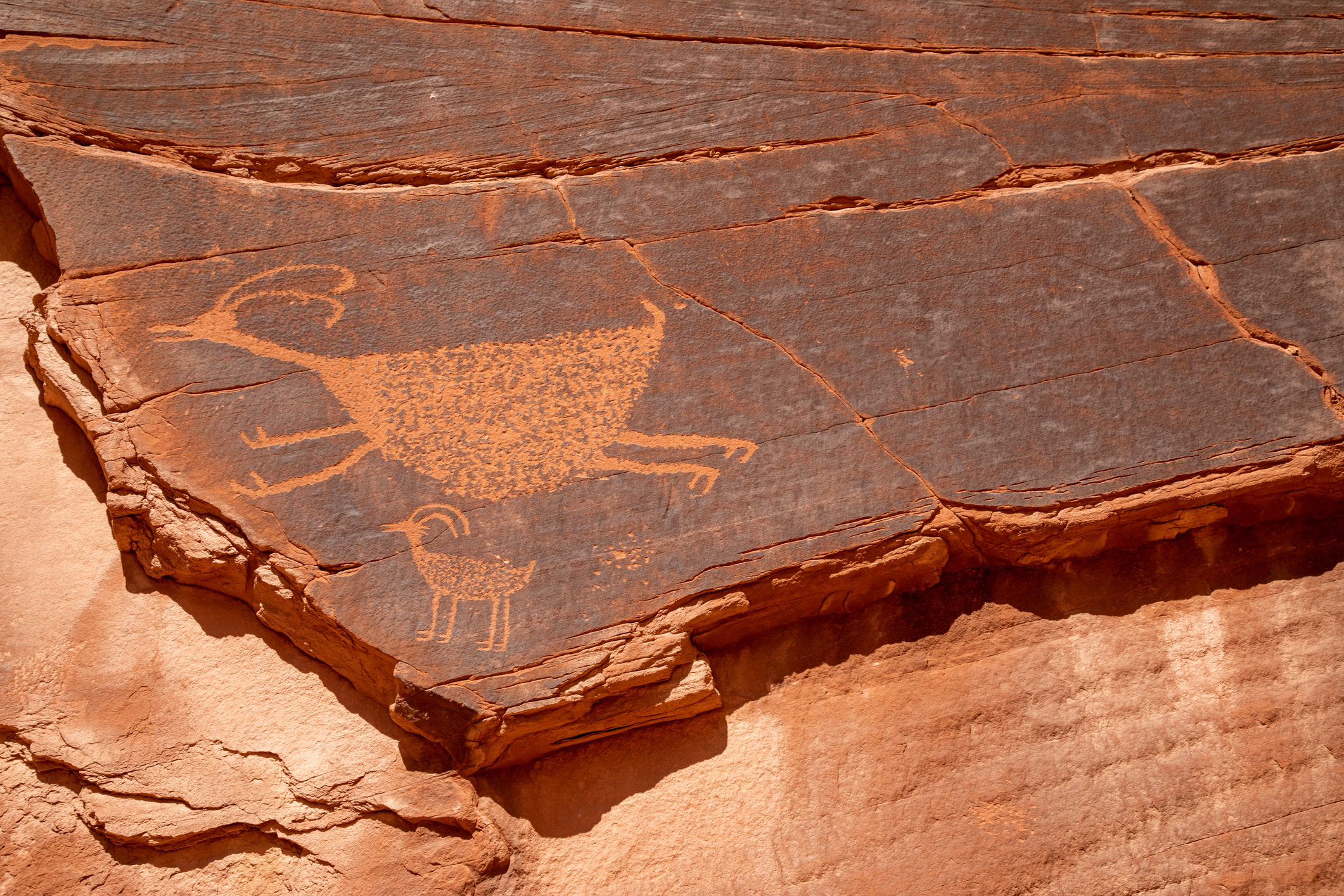 Ancient petroglyphs from the Anasazi in the Monument Valley