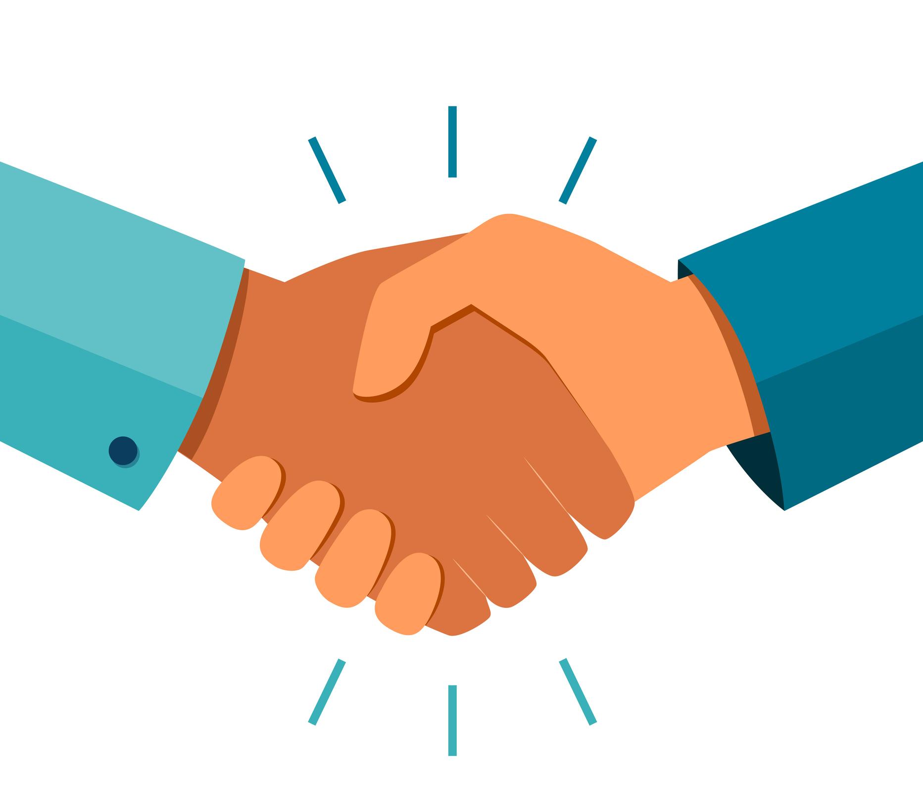 Handshake of business partners. Business handshake. Successful deal. Vector flat style illustration