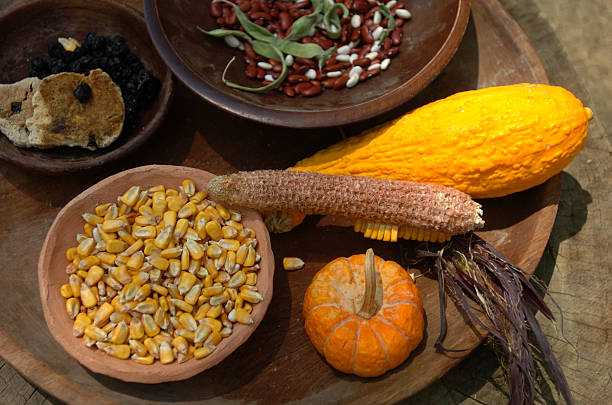 wooden platter of natural foods from the harvest